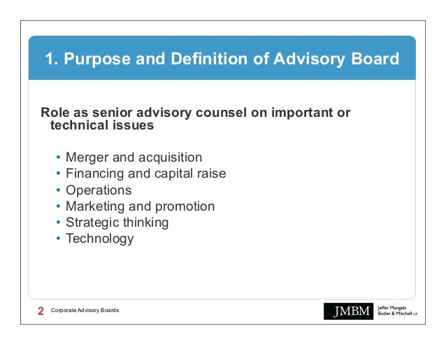 Corporate Advisory Boards, Their Role and Value