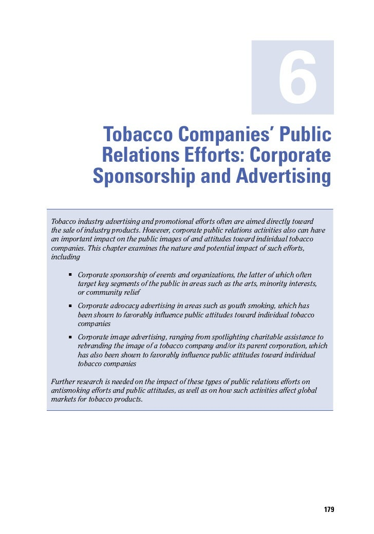 6               Tobacco Companies' Public               Relations Efforts: Corporate              Sponsorship and Advertis...