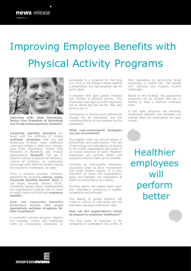 Improving Employee Benefits with             Physical Activity Programs                                           particip...