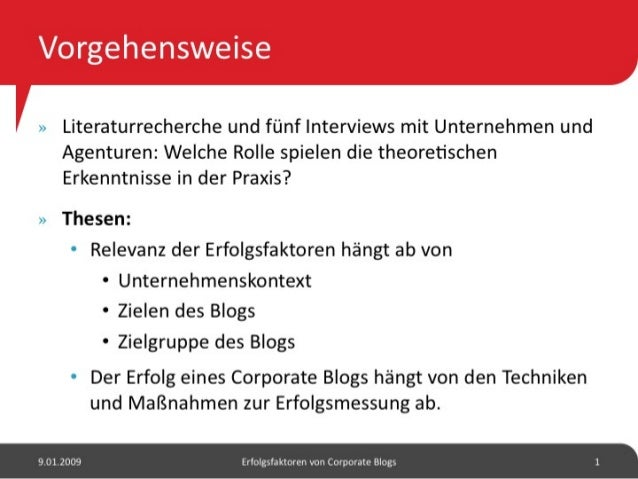 Erfolgsfaktoren von Corporate Blogs Slide 2