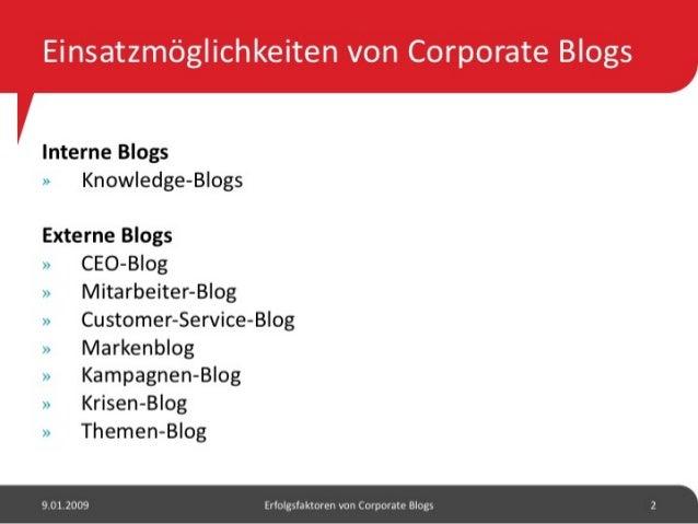 Erfolgsfaktoren von Corporate Blogs Slide 3
