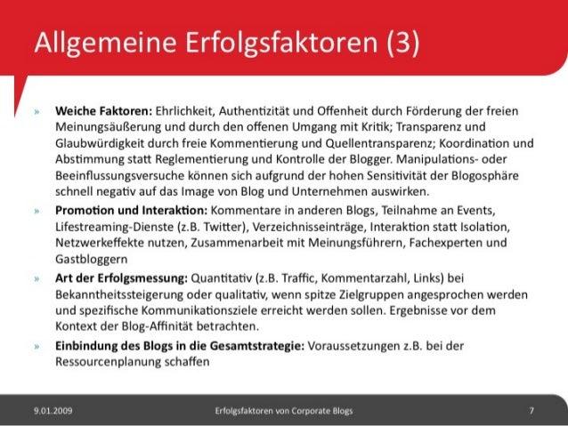 Erfolgsfaktoren von Corporate Blogs