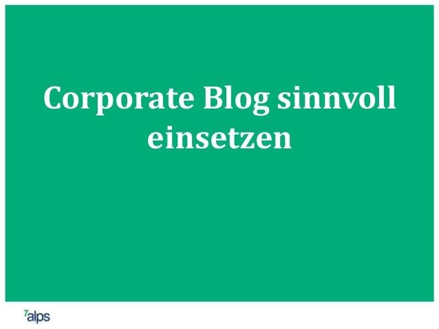 Corporate Blog sinnvoll einsetzen
