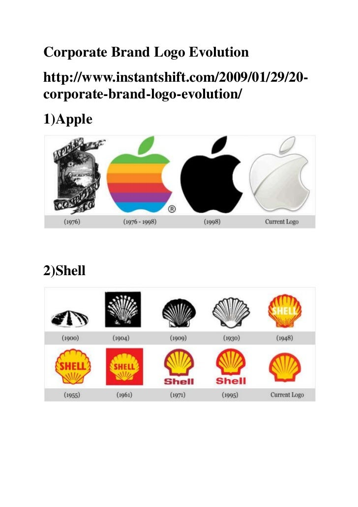 Corporate Brand Logo Evolutionhttp://www.instantshift.com/2009/01/29/20-corporate-brand-logo-evolution/1)Apple2)Shell