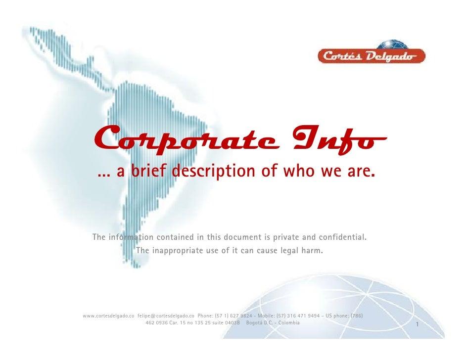 Corporate Catalog<br />A brief description of who we are…<br />