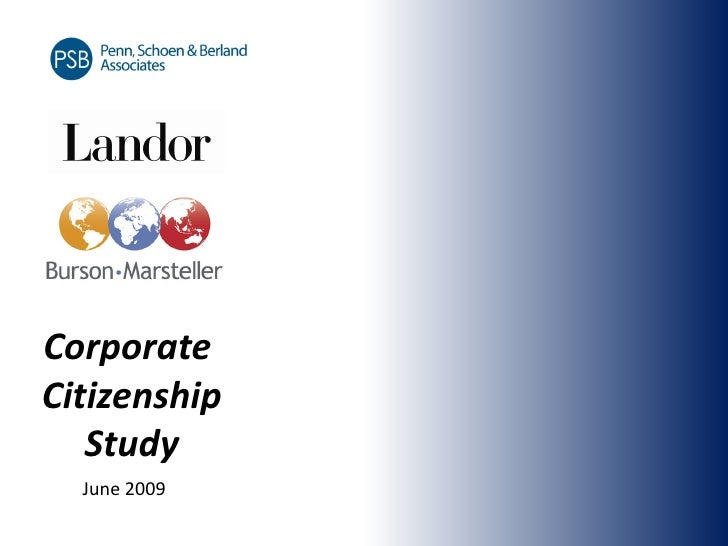 Corporate Citizenship    Study   June 2009
