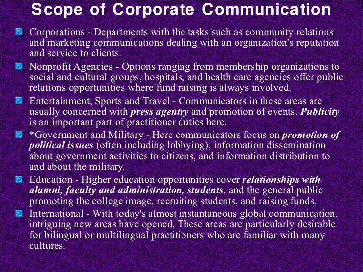 corporate comm The meaning of corporate communication is to build a brand and company  reputation to share with clients, customers and employees.