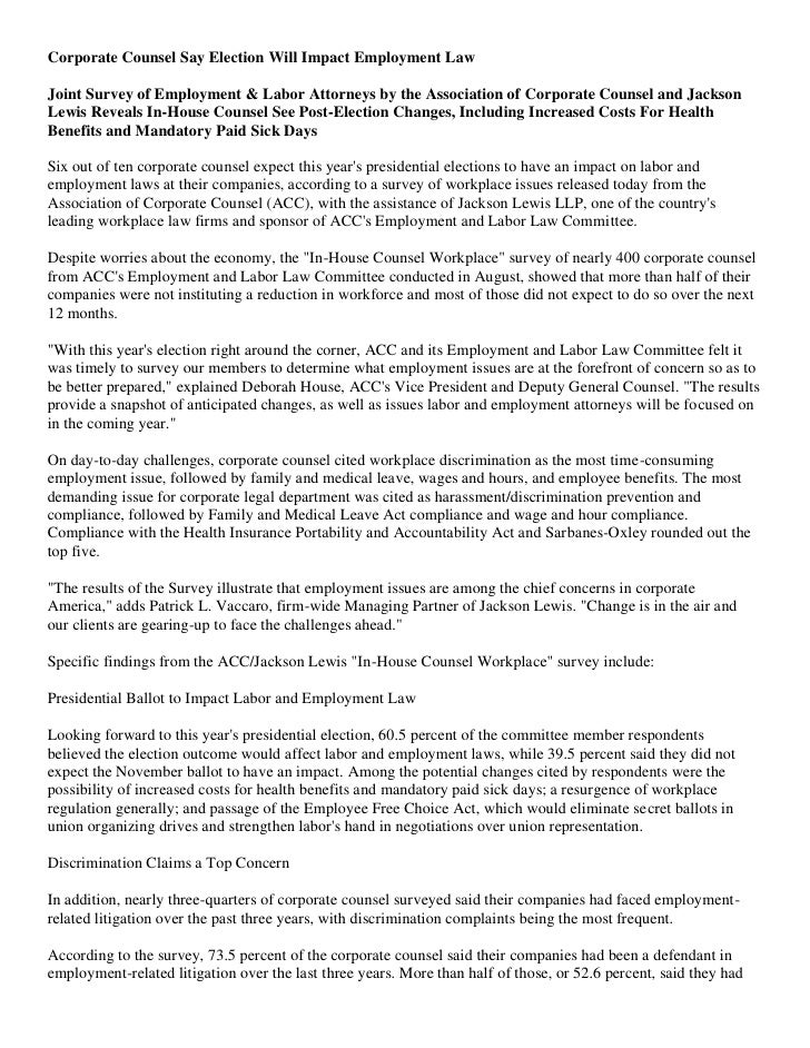 Corporate Counsel Say Election Will Impact Employment Law  Joint Survey of Employment & Labor Attorneys by the Association...