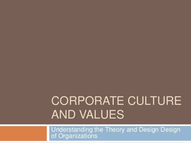 CORPORATE CULTUREAND VALUESUnderstanding the Theory and Design Designof Organizations