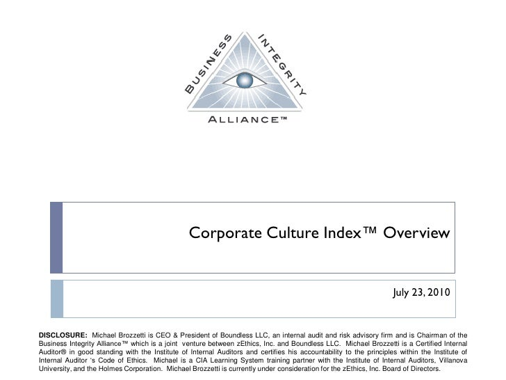 Corporate Culture Index™ Overview                                                                                         ...