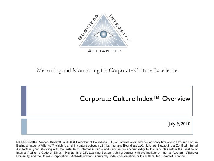 Corporate Culture Index™ Overview                             July 1, 2010
