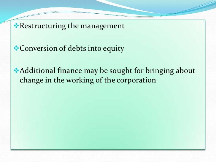 restructuring debt essay Debt rescheduling is the reorganization of an outstanding debt amount (stock) and/or its terms debt rescheduling is undertaken in situations where the debtor faces serious obstacles in repaying the debt, either on time or at all.