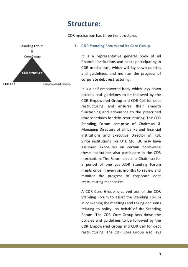 corporate debt restructure Preview the article corporate workout: the corporate debt restructuring committee revisited by ruzita azmi, lecturer, college of law, government and international.