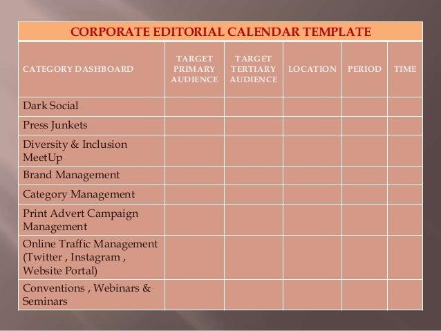 Corporate Editorial Calendar Template