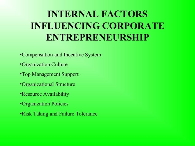 the corporate entrepreneurship Corporate entrepreneurship is the art of creating innovative ideas within a corporation and materializing them to make profit you have to use the knowledge and.