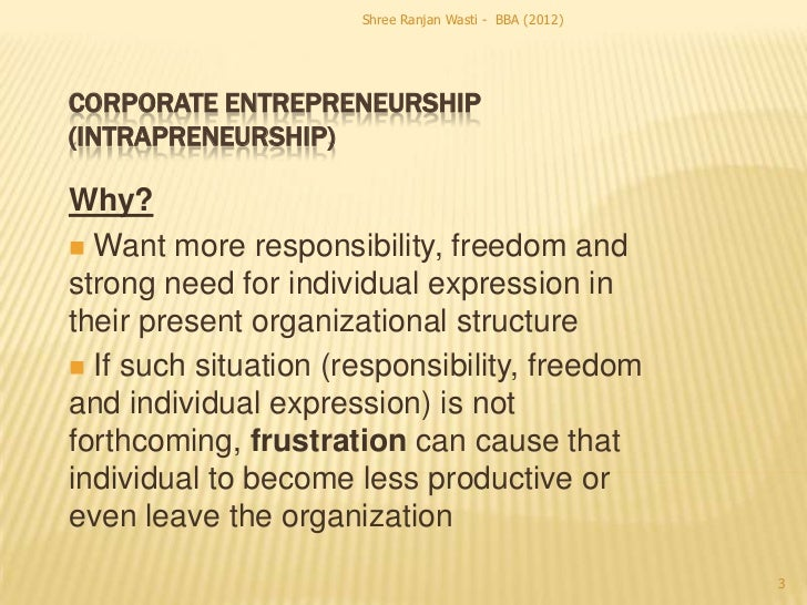 Shree Ranjan Wasti - BBA (2012)CORPORATE ENTREPRENEURSHIP(INTRAPRENEURSHIP)Why? Want more responsibility, freedom andstro...