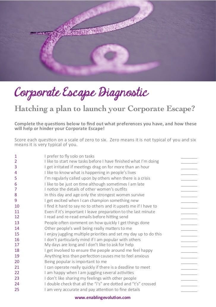 CORPORATE ESCAPE – DIAGNOSTIC   Corporate Escape DiagnosticHatching a plan to launch your Corporate Escape?C...