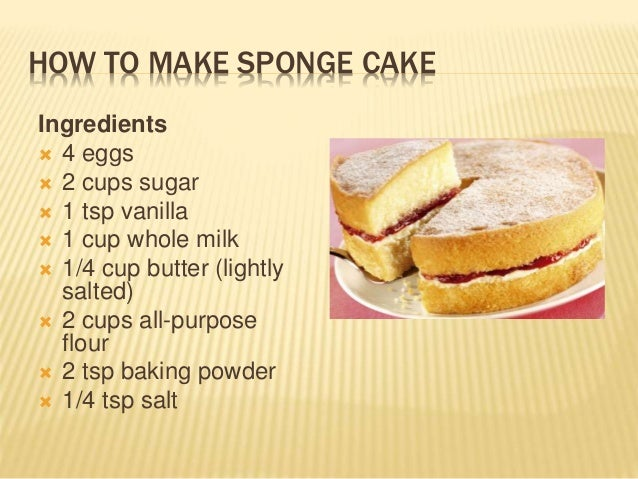 Sponge Cake Ingredients And Procedure