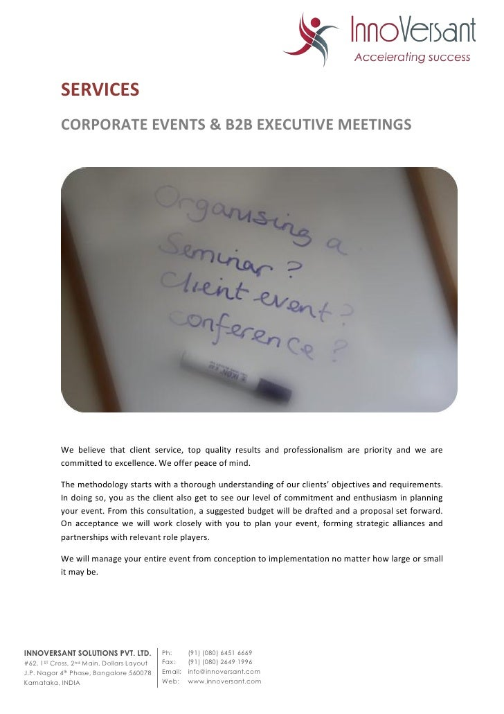 SERVICES CORPORATE EVENTS u0026 B2B EXECUTIVE MEETINGS