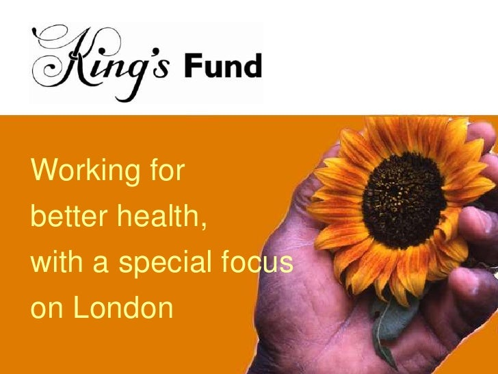 Working for<br />better health,<br />with a special focus<br />on London<br />