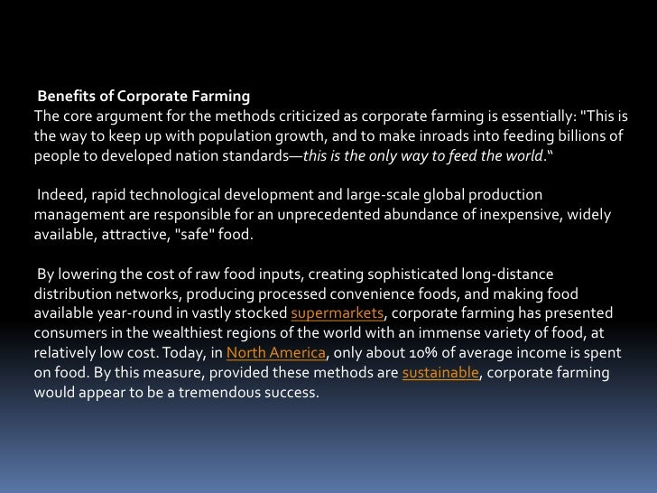 contract and corporate farming Contract farming is defined as a system for the production and supply of agricultural or horticultural products under forward contracts between producers/suppliers and buyers.
