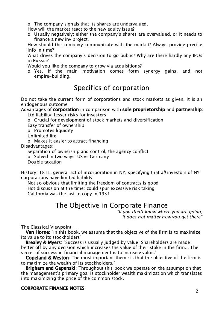 corporate finance notes Download and look at thousands of study documents in corporate finance on docsity find notes, summaries, exercises for studying corporate finance.