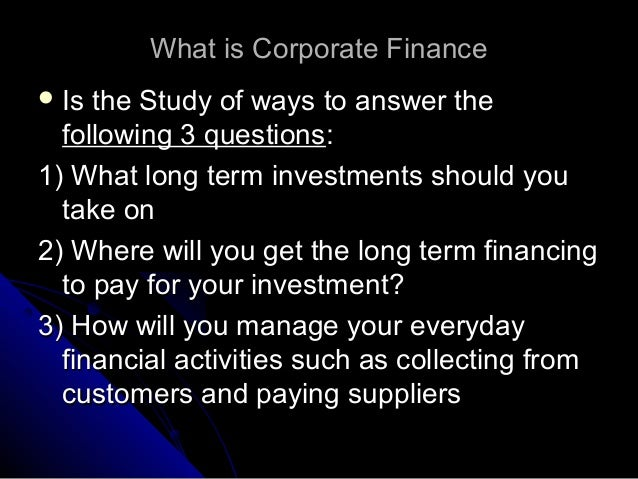 answer to the corporate finance Advanced / mba finance interview questions and answers these are questions that are also asked for junior-year summer analyst, full-time analyst, and mba job interviews these advanced finance questions require deeper thinking and understanding of corporate finance.