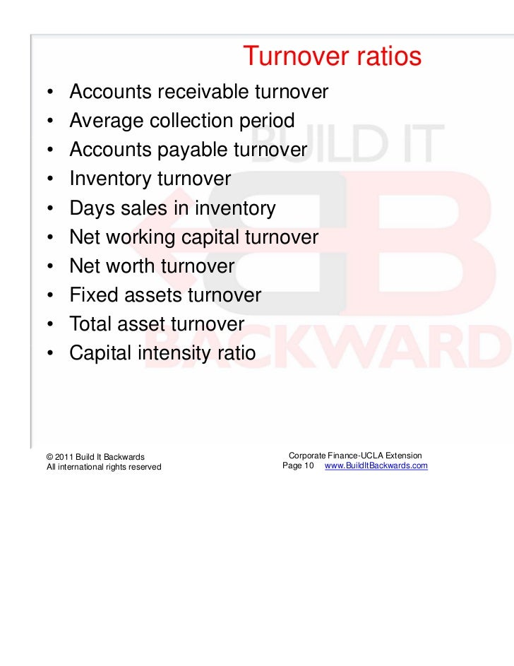 Turnover ratios•     Accounts receivable turnover•     Average collection period•     Accounts payable turnover•     Inven...