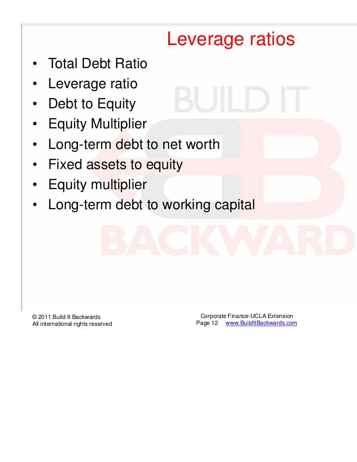 Leverage ratios•     Total Debt Ratio•     Leverage ratio•     Debt to Equity•     Equity Multiplier•     Long-term debt t...