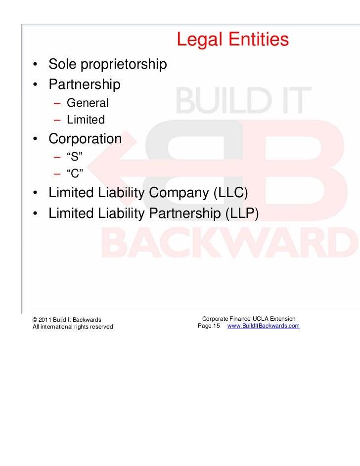 "Legal Entities• Sole proprietorship• Partnership        – General        – Limited• Corporation        – ""S""        – ""C""•..."