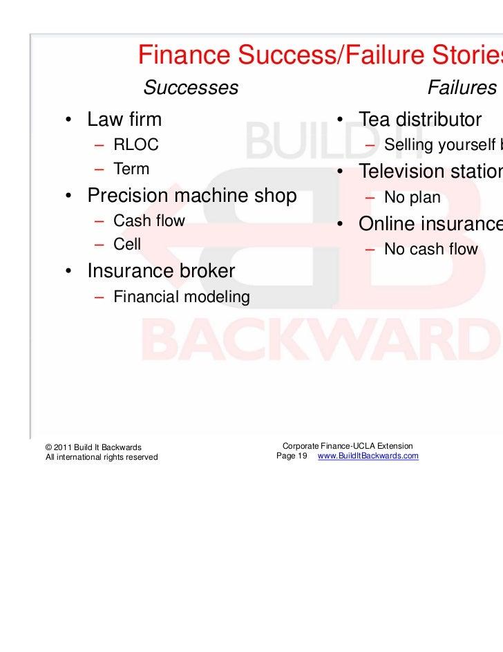 Finance Success/Failure Stories                            Successes                                       Failures     • ...