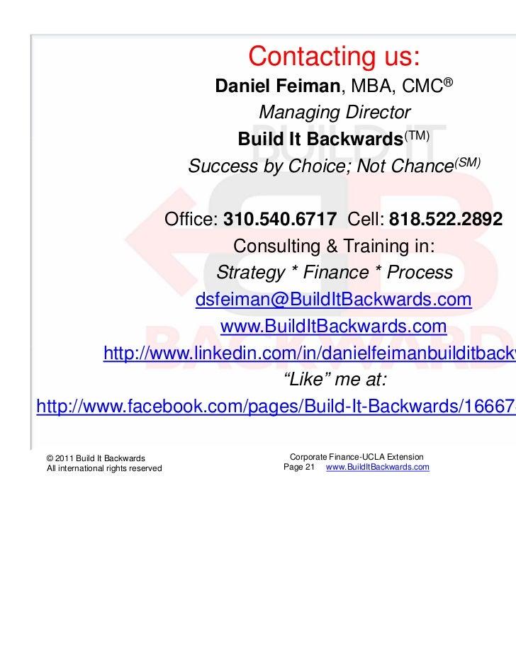 Contacting us:                                        Daniel Feiman, MBA, CMC®                                            ...