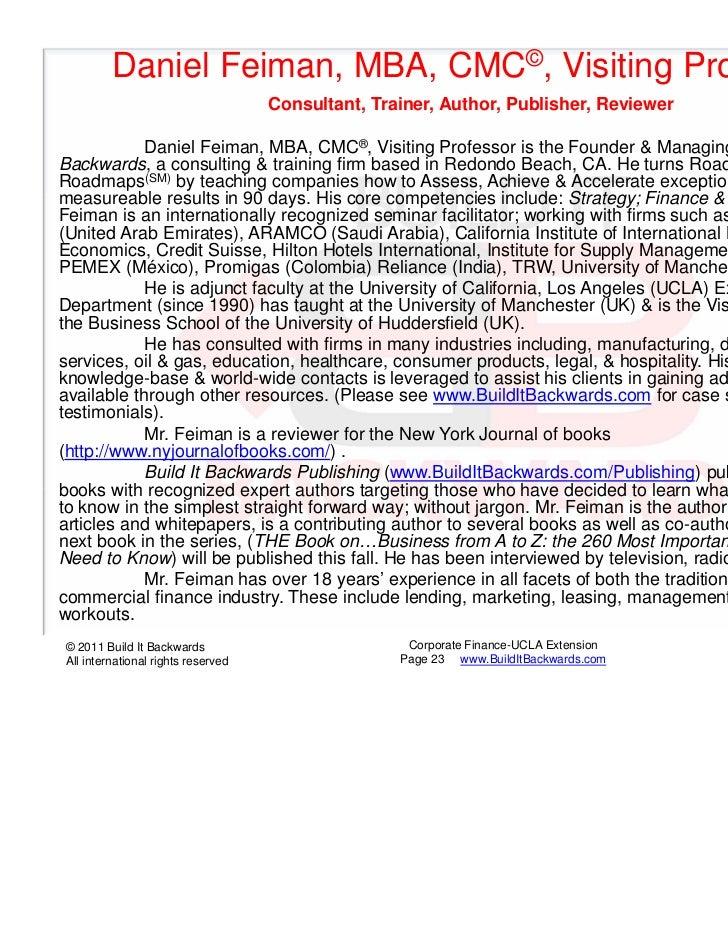 Daniel Feiman, MBA, CMC©, Visiting Professor                                    Consultant, Trainer, Author, Publisher, Re...