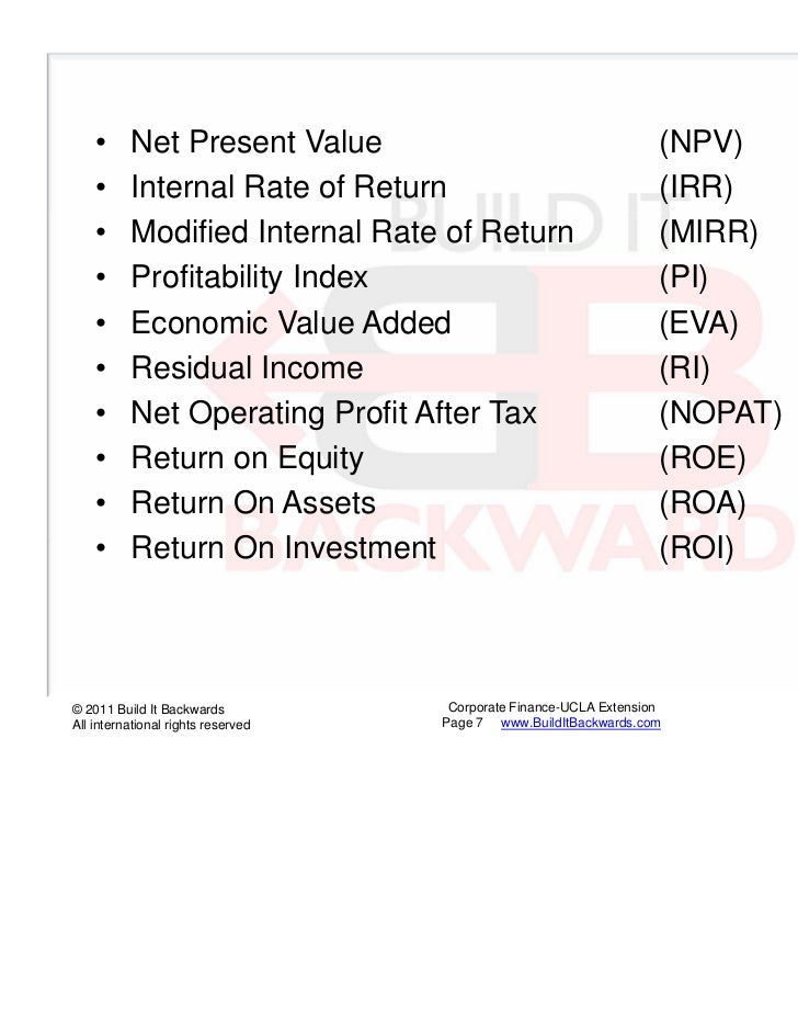 a comparison of eva and npv Npv is the acronym for net present value net present value is a calculation that compares the amount invested today to the present value.