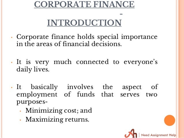 assignment of corporate finance The attached file corporate finance (sample)docx is the sample of this  assignment, please follow the content written in this attachment please pay  attention.