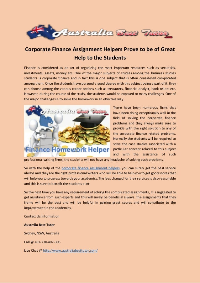 corporate finance assignment helpers prove to be of great help to the  corporate finance assignment helpers prove to be of great help to the students finance is considered