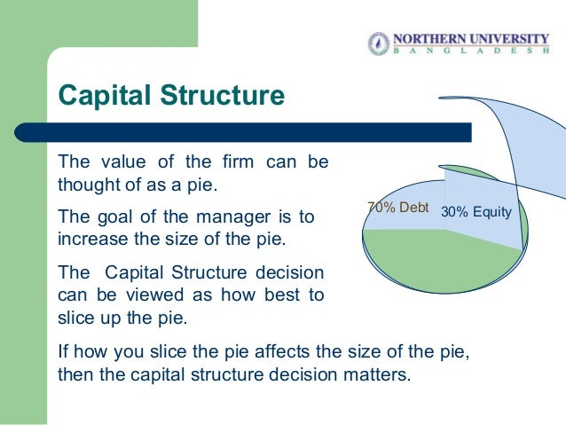 Capital Structure The value of the firm can be thought of as a pie. The goal of the manager is to increase the size of the...