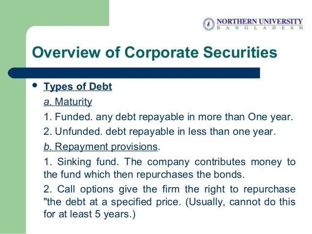 Overview of Corporate Securities  Types of Debt a. Maturity 1. Funded. any debt repayable in more than One year. 2. Unfun...