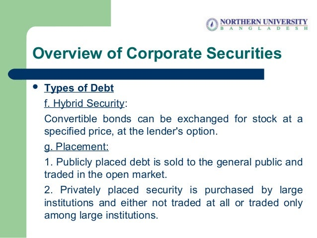 Overview of Corporate Securities  Types of Debt f. Hybrid Security: Convertible bonds can be exchanged for stock at a spe...