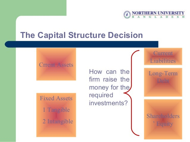 The Capital Structure Decision Crrent Assets Fixed Assets 1 Tangible 2 Intangible Shareholders ' Equity Current Liabilitie...