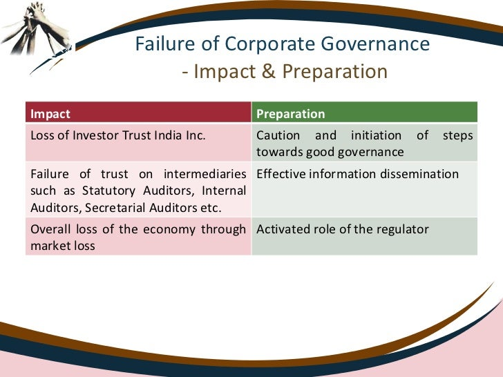 corporate governance failure at satyam essay Corporate governance failures and scandals in recent history accounting essay  several corporate collapses have overturn  a corporate governance.