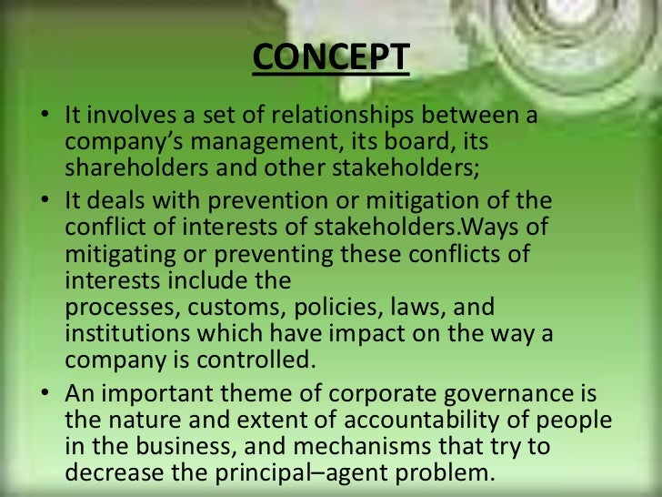nature of principal agent relationship in context corporate governance