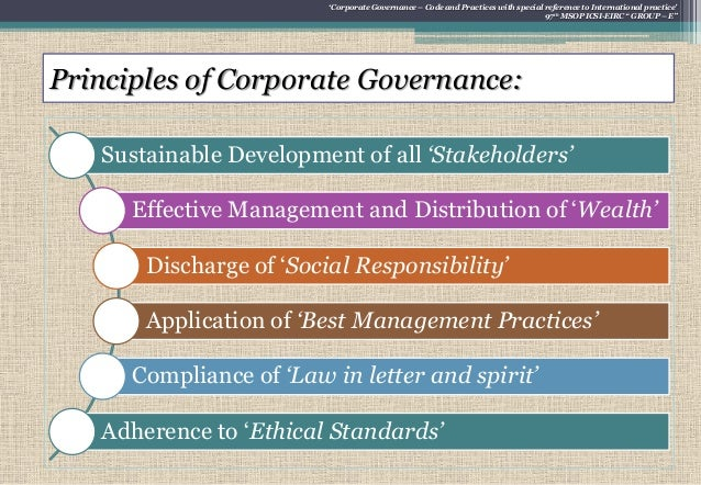 code of corporate governance The board of sec believes that the code of corporate governance will ensure the highest standards of transparency, accountability and good corporate governance, without unduly inhibiting.