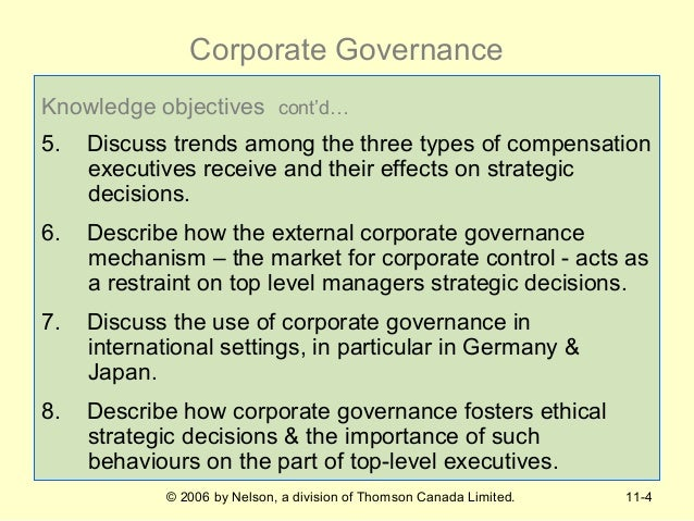 why is corporate governance used to monitor and control managerial decisions Procedures for making decisions in corporate degree of control and power, to monitor the management corporate governance and control.