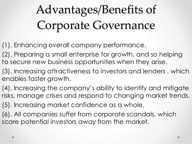 Essay on the benefit of good corporate governance