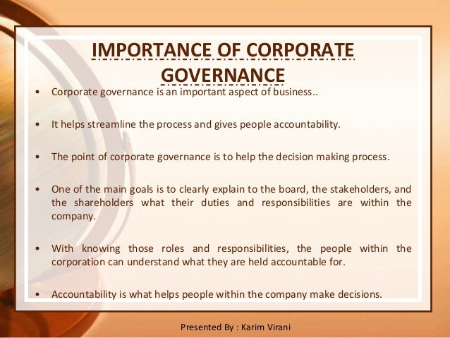 importance of corporate governance essays Corporate governance  essays on the nature and practice of corporate social responsibility,' at the university of georgia kareem's research interests include.