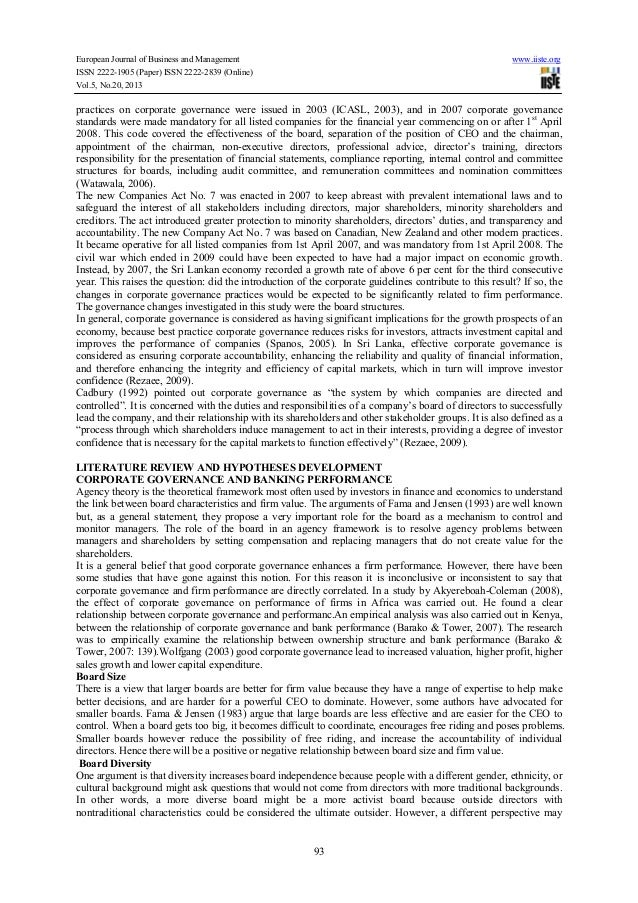 corporate governance performance Corporate governance  this article outlines the relationship between corporate governance and corporate social responsibility  corporate social performance.