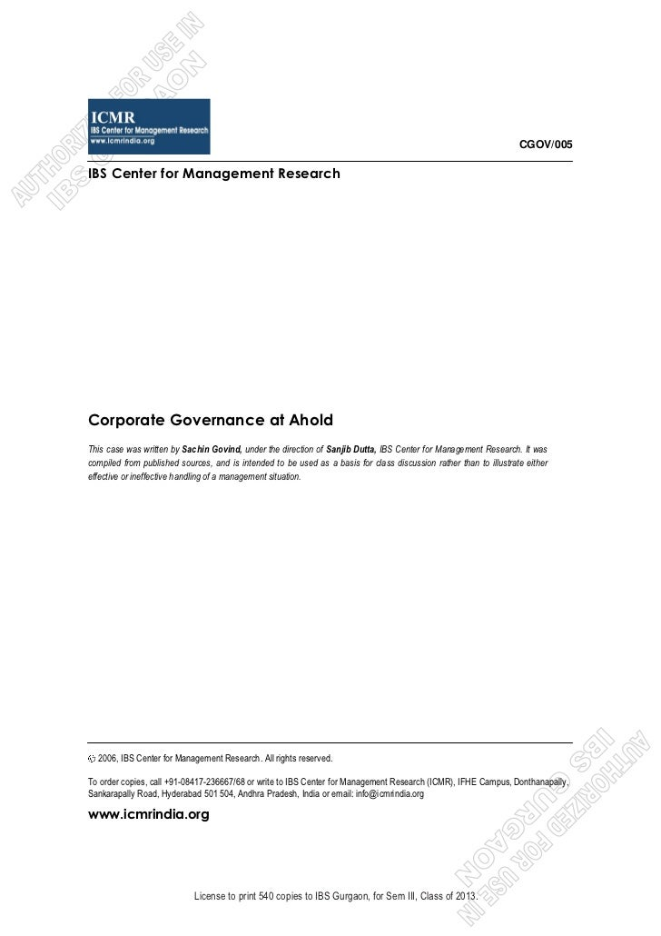 case study analysis royal ahold scandal