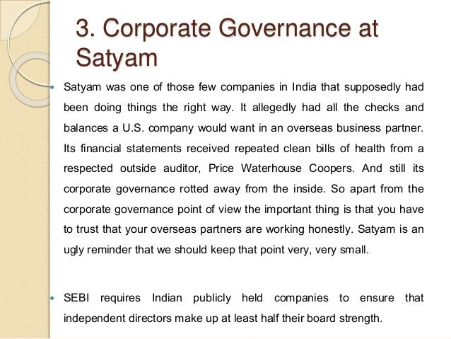 Governance Failure at Satyam Harvard Case Solution & Analysis