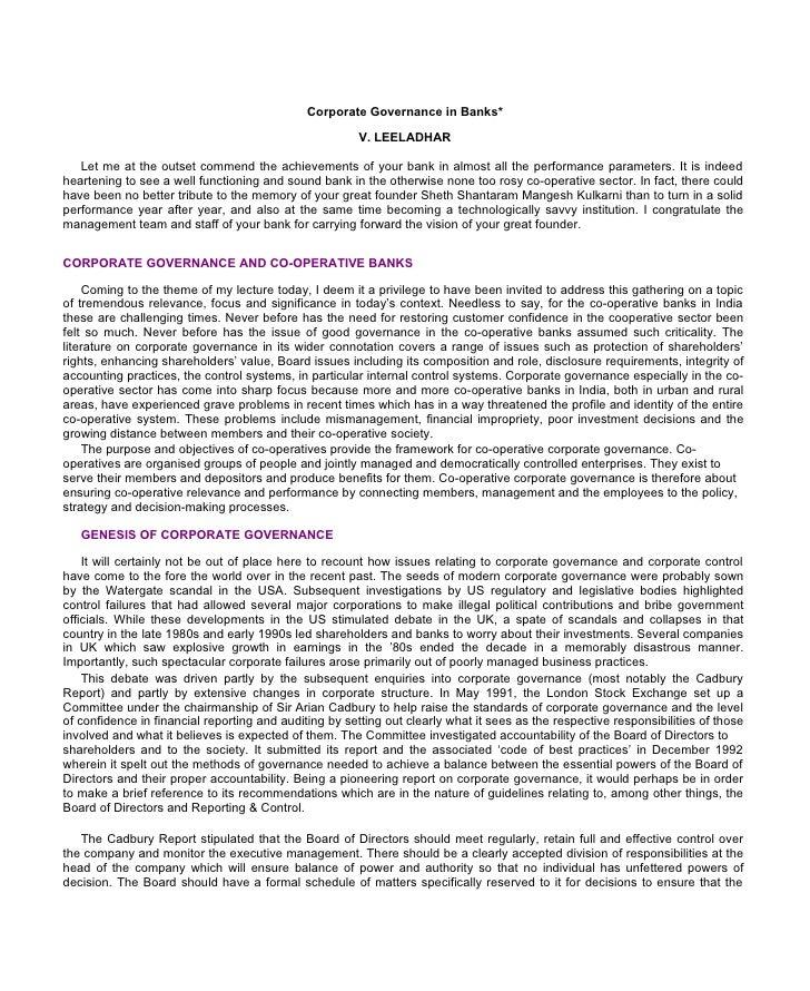 Corporate Governance in Banks*                                                        V. LEELADHAR   Let me at the outset ...